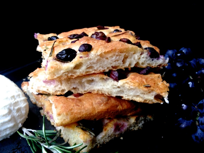 grape, olive & rosemary focaccia with ricotta