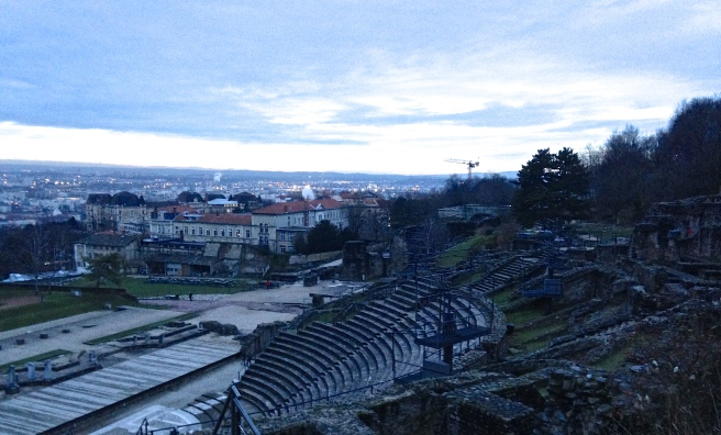 the ancient Roman amphitheater overlooking Lyon, France